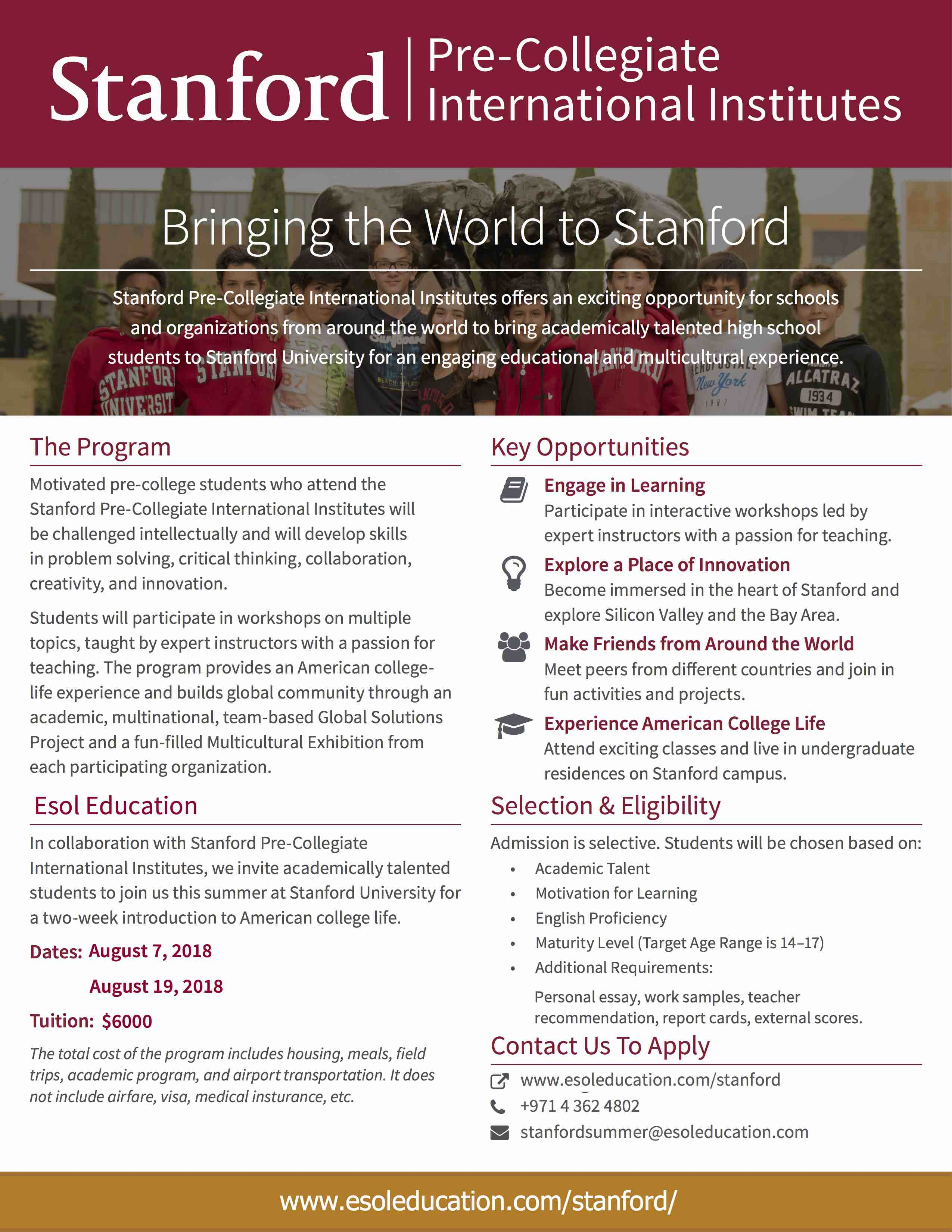 Esol Education: Stanford Pre-Collegiate International Institutes